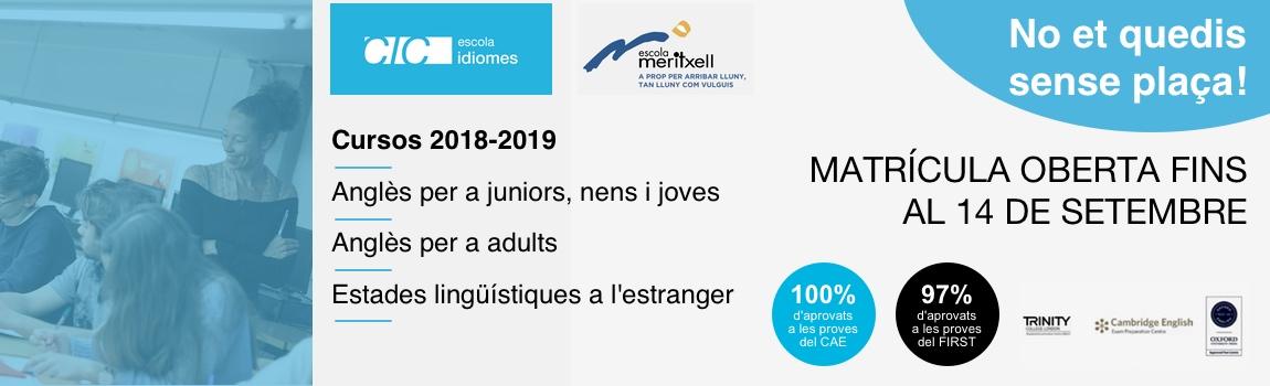 Cursos d'anglès CIC Escola Meritxell de Mataró