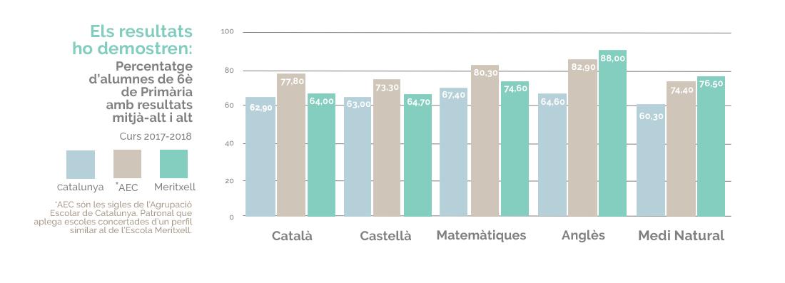 Resultats alumnes 6è de Primària Escola Meritxell Català, castellà, matemàtiques, anglès i medi natural