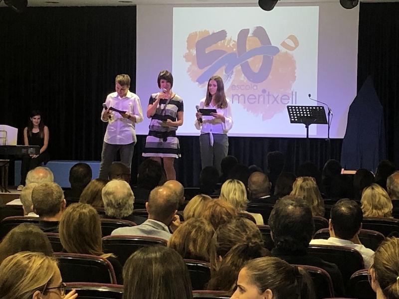 Presentadors de l'acte 50 aniversari Escola Meritxell