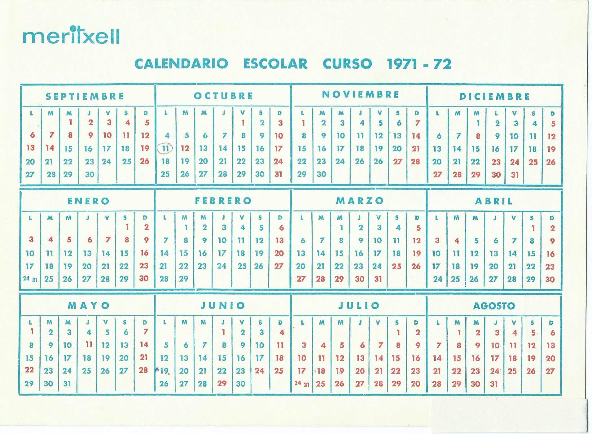 Calendari escolar curs 71-72 Escola Meritxell